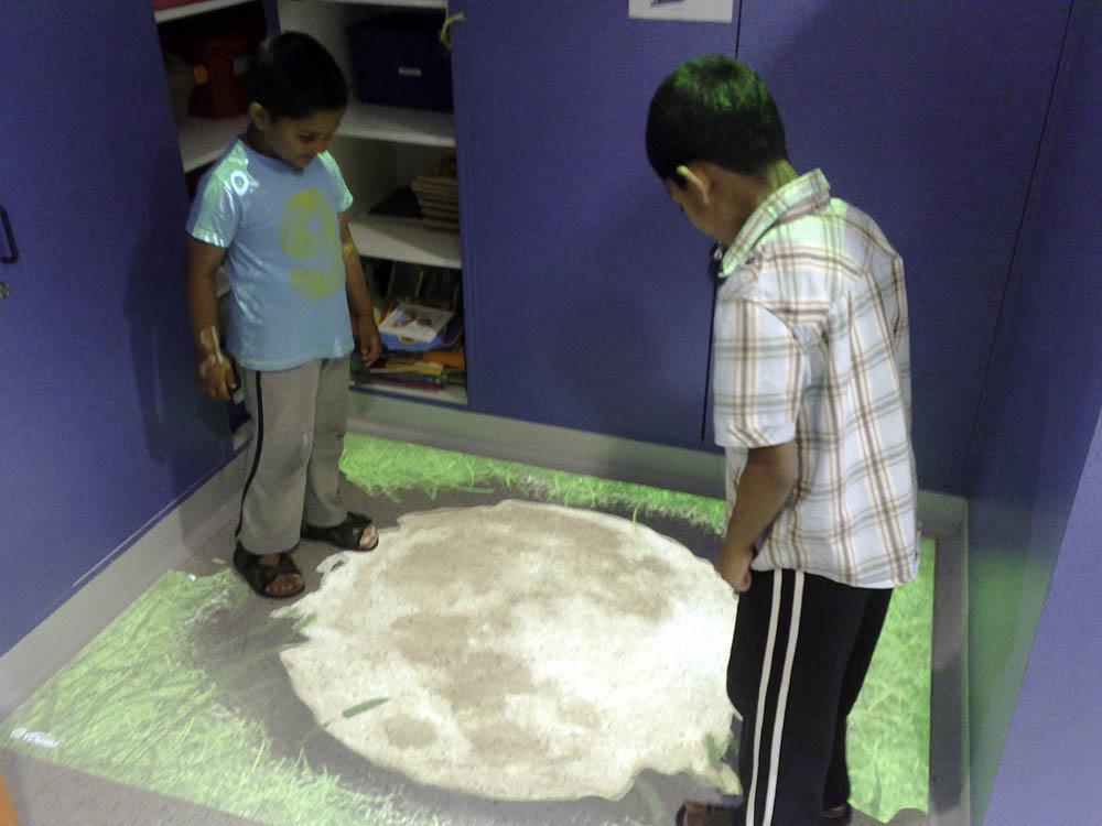 children using interactive floor sensory activities in Birmingham childrens hospital