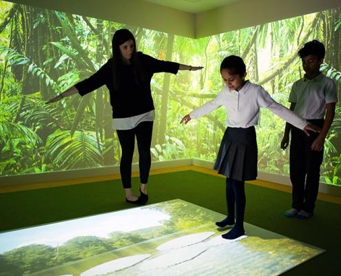 autism activities on interactive floor projection in sensory room