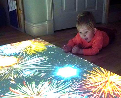Noah Wall Interacting with his sensory floor BBC DIY SOS