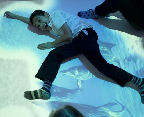 children with autism and special needs on interactive floor activity